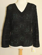 NWT Bala Bala BLACK Crinkle Fiber Art-to-Wear Boutique Tunic Top Shirt  L $146