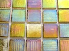 *   75 Tile Sheet Transparent Gold Iridescent 20mm Mosaic Tiles  *