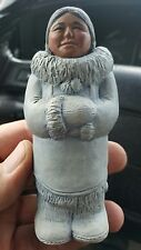 Old INUIT SOAPSTONE CARVING Woman in Parka Signed SRM YUKON CANADA / RACHEL