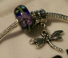 """EUROPEAN MURANO GLASS BEAD AND """"DRAGON FLY  DANGLE"""" CHARM, WITH PANDORA POUCH!"""