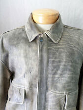 DISTRESSED LEATHER brown A-1 flight military retro bomber jacket XL