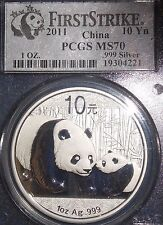 2011 China Silver Panda 10 Yuan Coin First Strike 1oz .999 PCGS Graded MS70