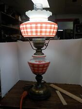 Vintage Red White Gingham Handpainted Milk Glass Table Lamp Electric GWTW Flower