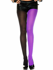 Two Toned Colors Opaque Jester Harlequin Tights Halloween Costume Med/Plus Size