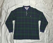 VINTAGE 90's TOMMY HILFIGER LONG SLEEVE PLAID POLO RUGBY SHIRT FLAG men's XL VTG