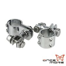 "Motorcycle Frame Clamps Chrome Foot Pegs Fits 1 1/4"" Engine Guards Except Vrsc"