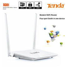Tenda D301 Wireless N300 ADSL2+ Modem Router WIFI WPS USB Four Port Switch