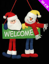Cute Christmas Welcome sign with Santa & Snowman & Dangly Legs Hanging Greeter
