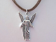 Unisex Men & Woman Archangel Uriel Pendant Dark Brown Faux Suede Cord Necklace