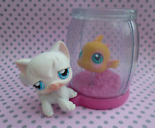 Littlest Pet Shop LPS #9 White Long Haired Cat #10 Fish in Bowl