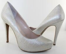 BCBG Parade Womens Silver Woven Fabric 5'' Classic Pumps Heels Shoes Size 10 NEW