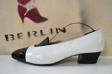 Salamander Damen Pumps made Germany TRUE VINTAGE lack Leder schwarz weiß UK 6,5