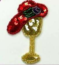 E5843 ~ RED LADIES HAT & STAND SEQUIN BEADED APPLIQUE PATCH