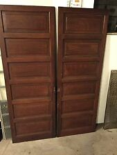 "2 ANTIQUE 70 x 24"" GRAIN PAINT RAISED PANEL CUPBOARD CABINET PANTRY DOORS PICKUP"