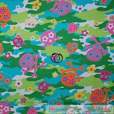BonEful FABRIC FQ Cotton Quilt Green Pink Blue Camouflage Girl Skeleton Skull US