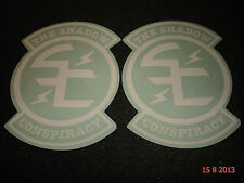 "2 AUTHENTIC SHADOW CONSPIRACY BMX WHITE ""SC"" LOGO STICKERS #12 DECALS AUFKLEBER"