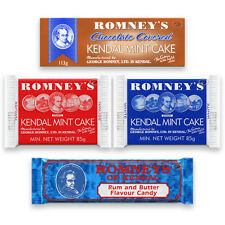 KENDAL MINT CAKE: White / Brown / Chocolate Covered / Rum and Butter Candy Bars