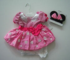 NWT Disney Pink Minnie Mouse Sz 3-6 Months Costume Dress and Ears Headband