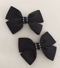 2 Packs Of Black Big Bow Hair Clips/aligator Clip/schools Uniform