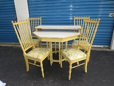 Faux Bamboo Dining Set Thomasville Spindles 4 Chairs Mid-century Modern + Table
