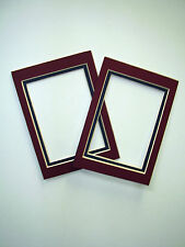 Picture Frame Double Mats set of two 5x7 for 3.5x5 photo Maroon and Navy