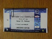 18/03/2013 BIGLIETTO: Birmingham City u21 V COVENTRY CITY u21 (completo)
