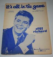 Partition vintage sheet music CLIFF RICHARD : It's All in the Game *60's SHADOWS