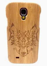 SAMSUNG GALAXY S4 BAMBOO WOOD CASE WOLF ENGRAVING REAL WOOD COVER + SCREEN GUARD