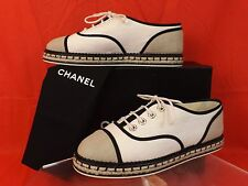 NIB CHANEL BEIGE CANVAS LACE UP PEARLS CC ESPADRILLE FLAT TENNIS SNEAKERS 39