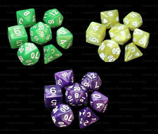 3 Sets of 7 Polyhedral Dice - Marble Green Yellow & Purple - Matching Bags RPG