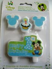 Disney Mickey Mouse 1st Birthday Candle Set New (4pcs.)