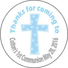 24 1.67 Inch Stickers 1st Communion Baptism party Personalized round sealers boy