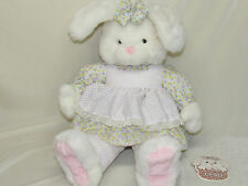 "Large Gund White Bunny Plush Violet EUC 24"" Stuffed Rabbit HTF Dress Easter"