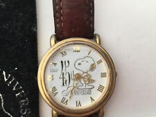 RARE Gold Snoopy 45th Anniversary Watch by Amitron in Original Pouch USED