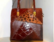 Vintage! MADE IN ITALY Patchwork/Whiskey Brown Croc Patent Leather Handbag Purse