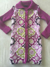 girls THE CHILDREN'S PLACE LONG SWEATER cardigan PURPLE flowers COLLAR size 5-6