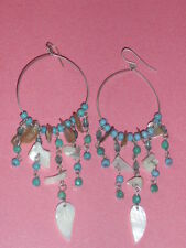Long Ethnic Native American Type Turquoise Green Chip Shell Leaf Dangle Earrings