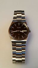 Vintage Men's SS Silver Seiko Quartz SQ 8123 Day Date Wrist Watch