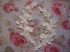 NEW! Large Rose Branch/Stem L-R Pair Furniture Applique Architectural Pediment