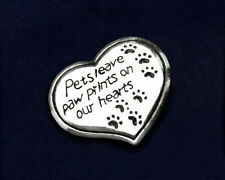 Sterling Silver-Plated Pets Leave Paw Prints Pin - SALE BENEFITS RESCUE