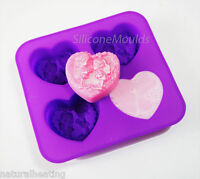 4 Cell Hearts FAIRIES / ELVES Silicone Soap Mould Mold Melt Pour Cold Process