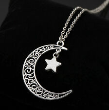 Charm Silver Plated Necklace Crescent Chain Star Choker Jewelry Moon Pendant