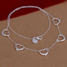 925 Sterling Silver Plated 5 Floating Heart Pendant Necklace Chain Jewelry