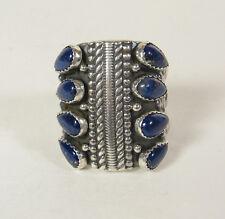 Size 9 Lapis Lazuli Ring Navajo USA Made Statement Collectible Jewelry Southwest