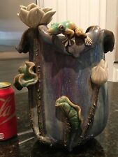Rare Vase Majolica Pottery Signed Marked Green Oriental Chinese Frog & Lily Pad