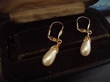 Vintage Pearl Drop with Filigree Cap Gold Hook Pierced Earrings