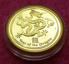 2012 AUSTRALIA GOLD LUNAR YEAR OF THE DRAGON 1/10th $15 PROOF COIN COA BOX