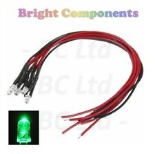 Flashing Pre-Wired Green LED 3mm Ultra Bright : 9V ~ 12V : 1st CLASS POST