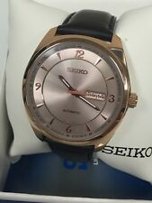 Seiko Men's Automatic Rose Gold Tone Stainless Leather Strap Watch SNKN72