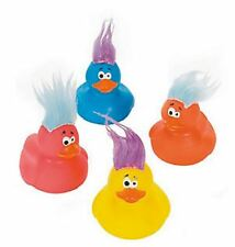 Set of 4 Crazy Hair Troll Rubber Ducks Duckys Duckies #161244 Favor Topper Toy
